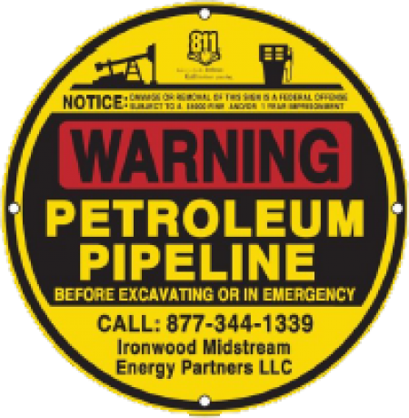 Ironwood Midstream pipeline warning sign